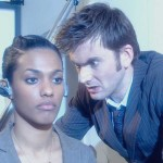 David Tennant's Tenth Doctor inspects the cyber'd Freema Agyeman in Doctor Who Army of Ghosts