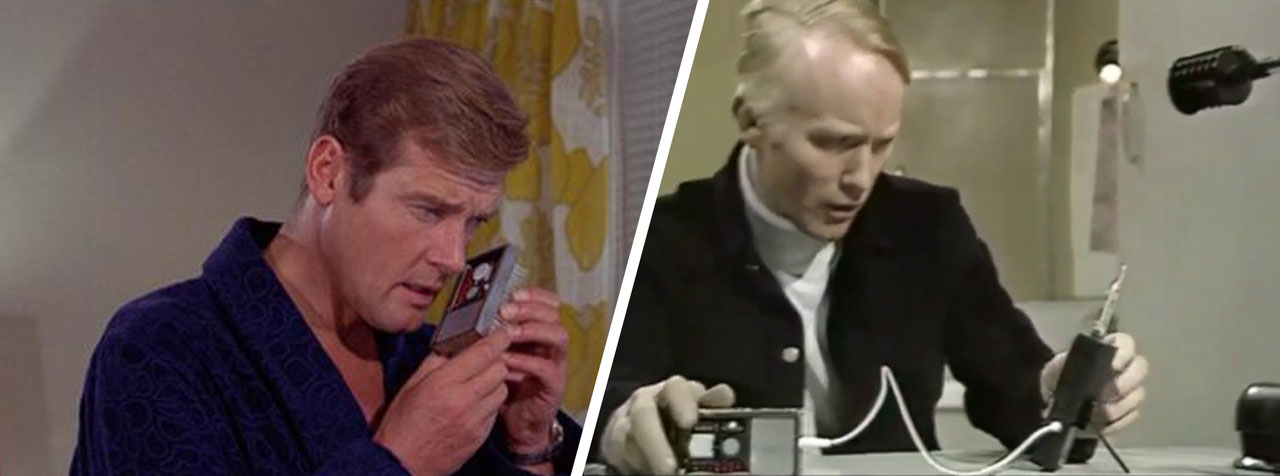 Radio prop with Roger Moore in Live and Let Die / Radio prop reappears in Revenge of the Cybermen