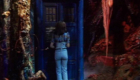 sarah-jane-smith-with-tardis-in-jungle-on-zeta-minor-planet-of-evil-doctor-who-back-when