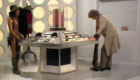 tom-baker-fourth-doc-and-leela-in-number-two-control-room-new-primary-tardis-console-invisible-enemy-doctor-who-back-when